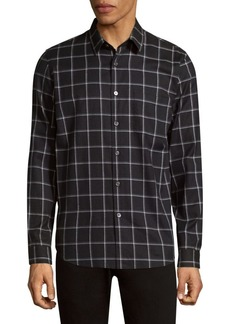 Theory Grid Flannel Cotton Button-Down Shirt
