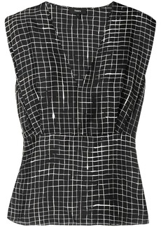 Theory grid print blouse
