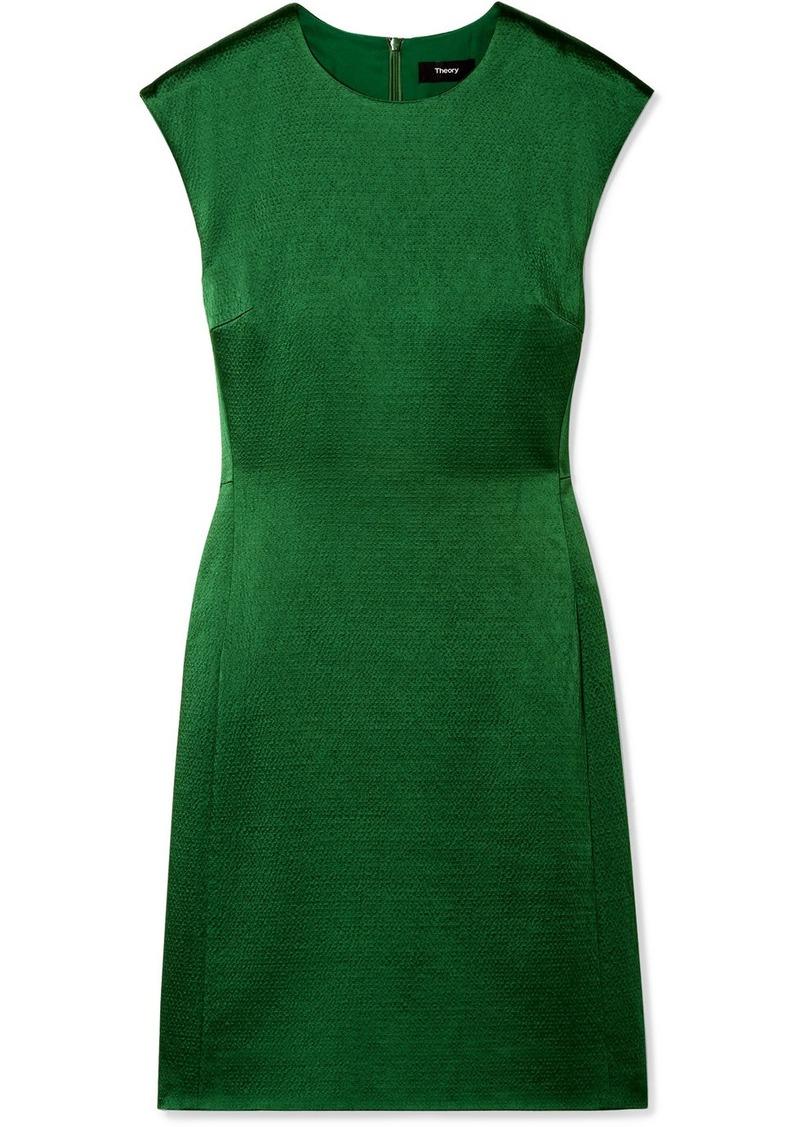 Theory Hammered-satin Mini Dress