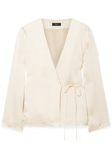Theory Hammered-satin Wrap Blouse