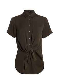 Theory Hekanina Core Short-Sleeve Tie-Front Shirt