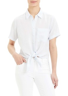 Theory Hekanina Tie Front Short Sleeve Button-Up Shirt