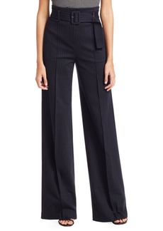 Theory High-Waist Belted Pinstripe Pants