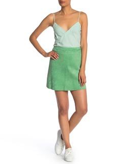 Theory High Waist Lamb Suede Mini Skirt (Regular & Petite)