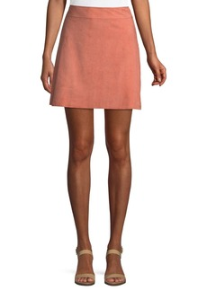 Theory High-Waist Mini-Length Suede Skirt