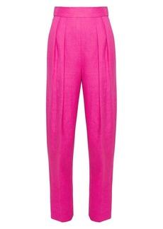 Theory High-Waist Pleated Linen Pants