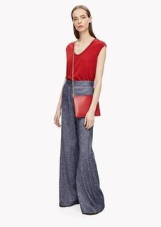 Theory High-Waist Wide-Leg Linen Pant