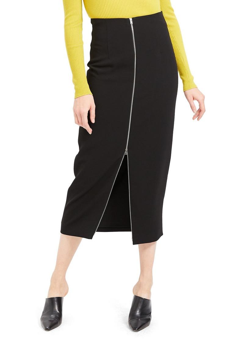 Theory High-Waist Zip-Front Crepe Midi Skirt