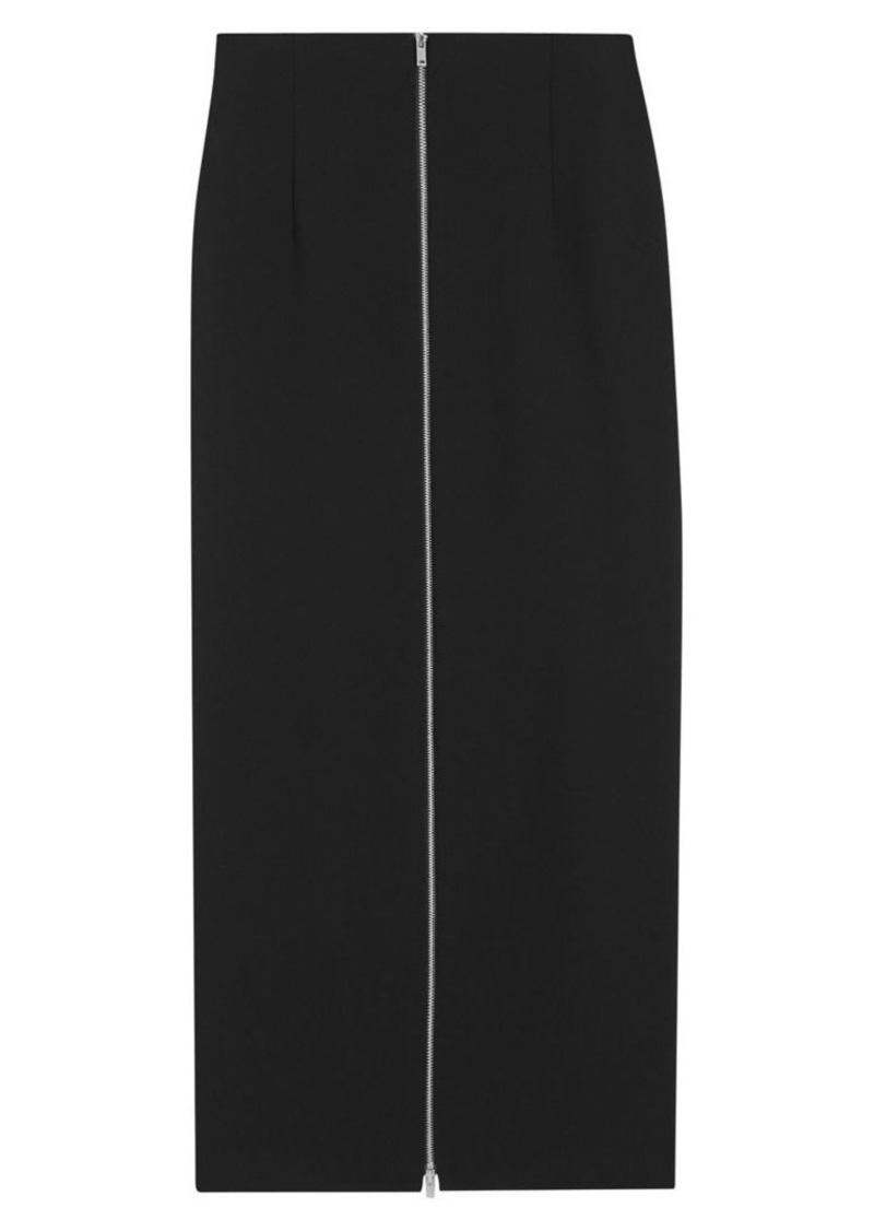Theory High-Waist Zip Midi Pencil Skirt