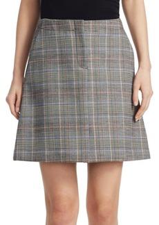 Theory High Waisted Plaid Skirt