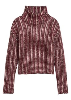 Theory Inlay Striped Alpaca-Blend Turtleneck Sweater