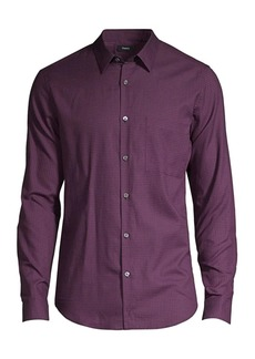 Theory Irving Brushed Gingham Button-Down Shirt