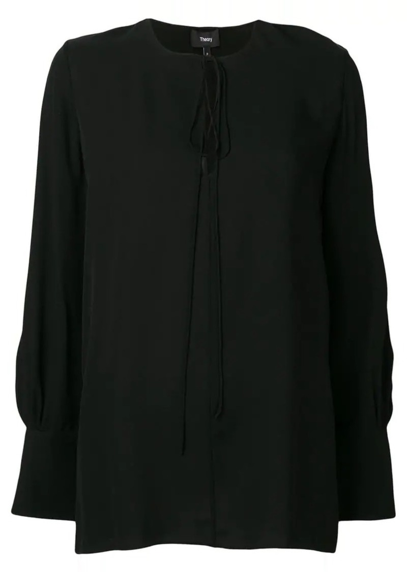 Theory keyhole long-sleeve blouse