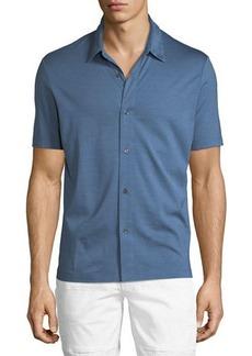 Theory Knit Incisive Silk-Blend Short-Sleeve Sport Shirt