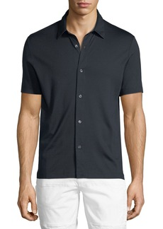 Theory Knit Incisive Silk-Blend Short-Sleeve Sport Shirt