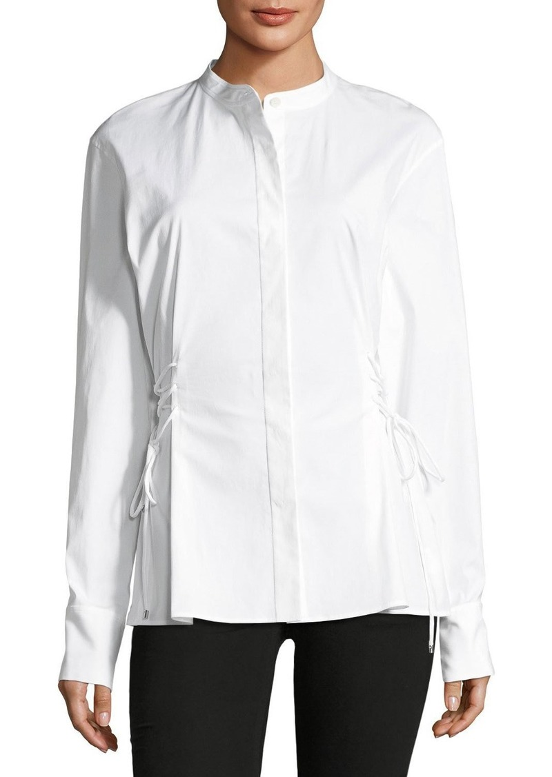 Theory Lace-Up Band-Collar Blouse