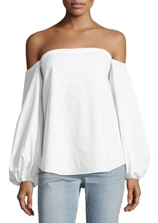 Theory Laureema Off-the-Shoulder Light Poplin Top