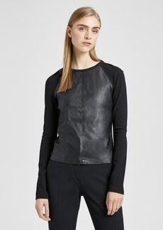 Leather Combo Raglan Top