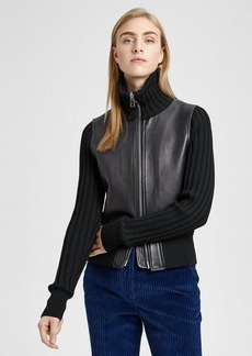 Theory Leather Ribbed Jacket
