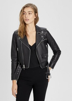 Theory Leather Shrunken Moto Jacket