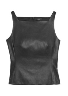 Theory Leather Squareneck Peplum Top