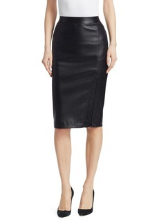 Theory Leather Zip-Up Pencil Skirt