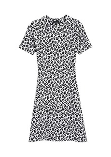 Theory Leopard Jacquard T-Shirt Dress