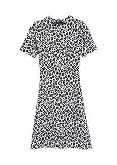 Theory Leopard Jacquard T-Shirt Dress