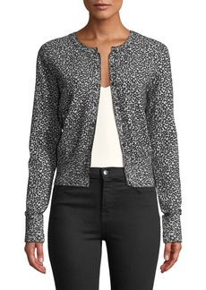 Theory Leopard-Print Button-Front Cardigan