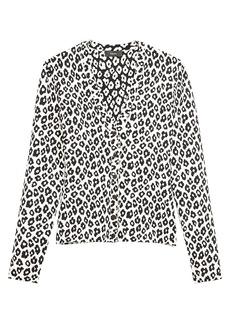 Theory Leopard Print V-Neck Cardigan