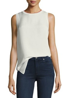 Theory Lewie Crewneck Sleeveless Silk Tank