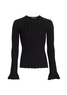 Theory Linear Knit Bell-Sleeve Top