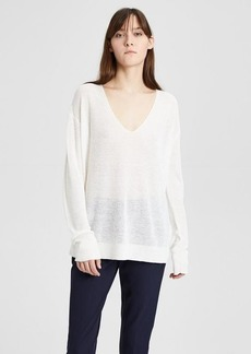 Theory Linen Blend Ribbed V-Neck Pullover