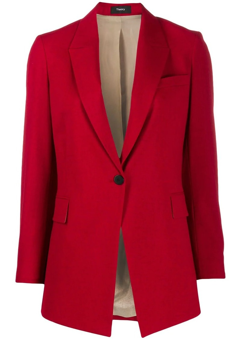 Theory long cutaway-front blazer