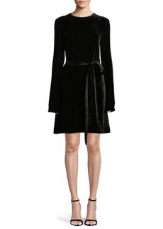 Theory Long-Sleeve Crewneck Belted A-Line Crinkle Velvet Dress