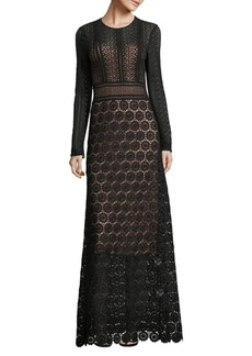 Theory Long Sleeve Lace Gown