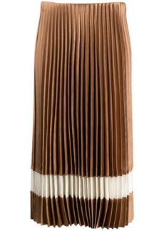 Theory contrast stripe pleated skirt