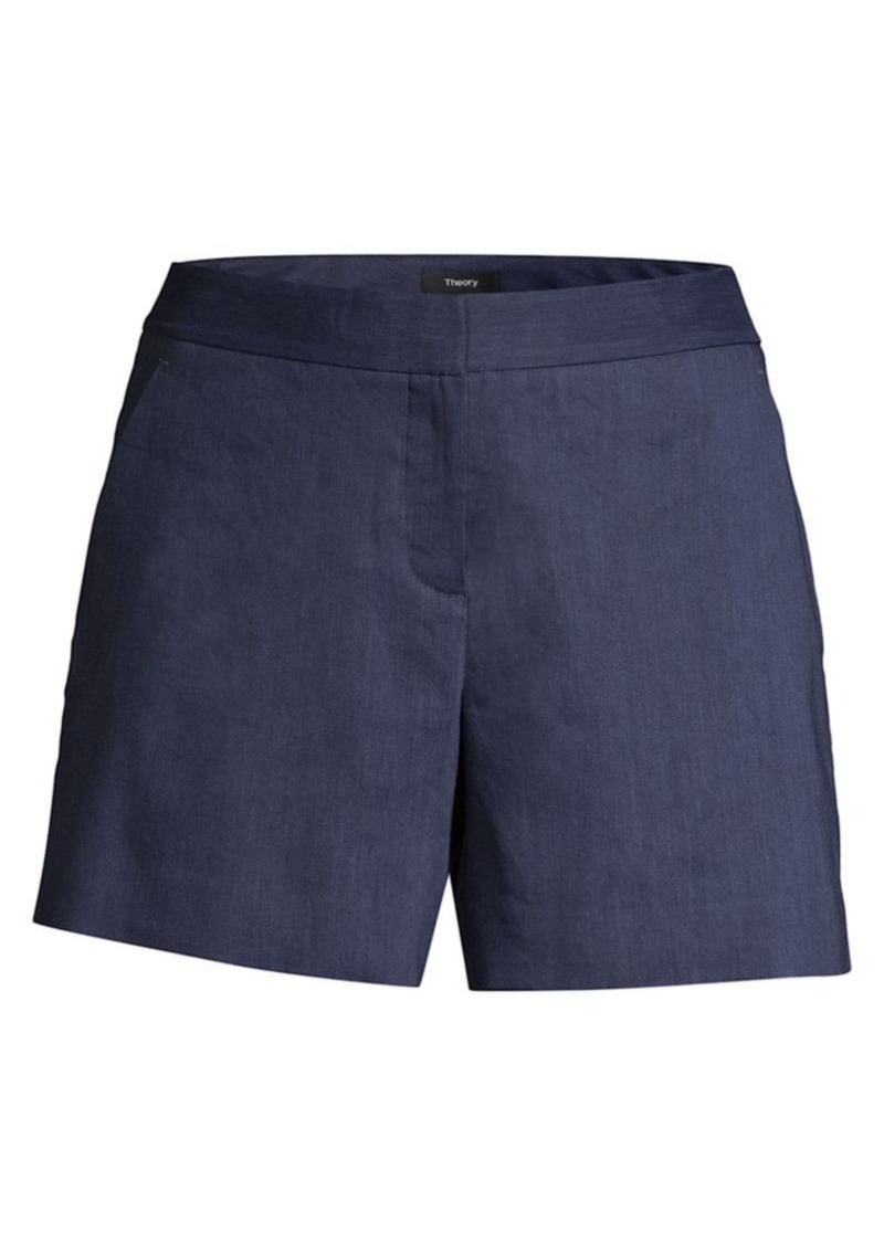 Theory Lynie A-line Linen Blend Shorts