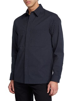 Theory Men's Kian Kamino Striped Shirt Jacket