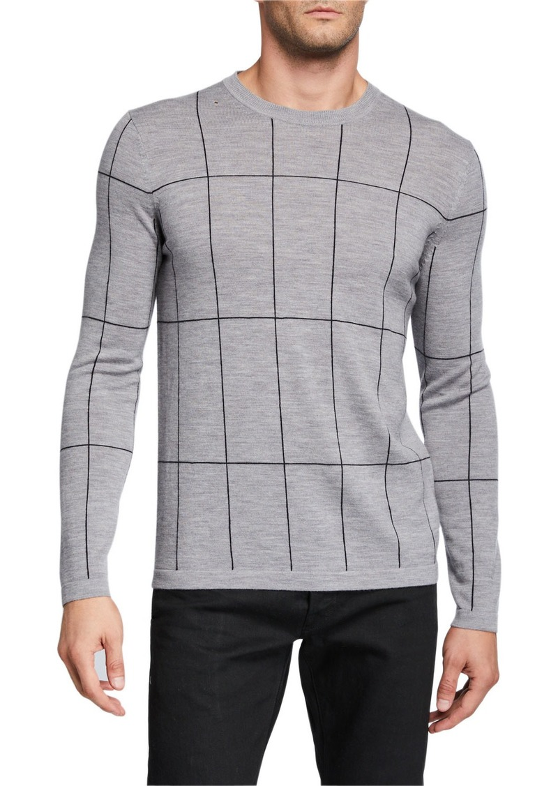 Theory Men's Malio Milos Grid Check Sweater