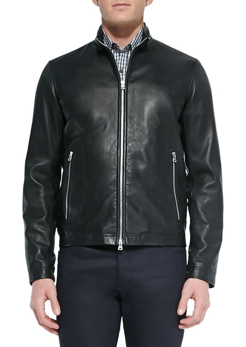 Theory Men's Morvek Zip-Front Leather Jacket