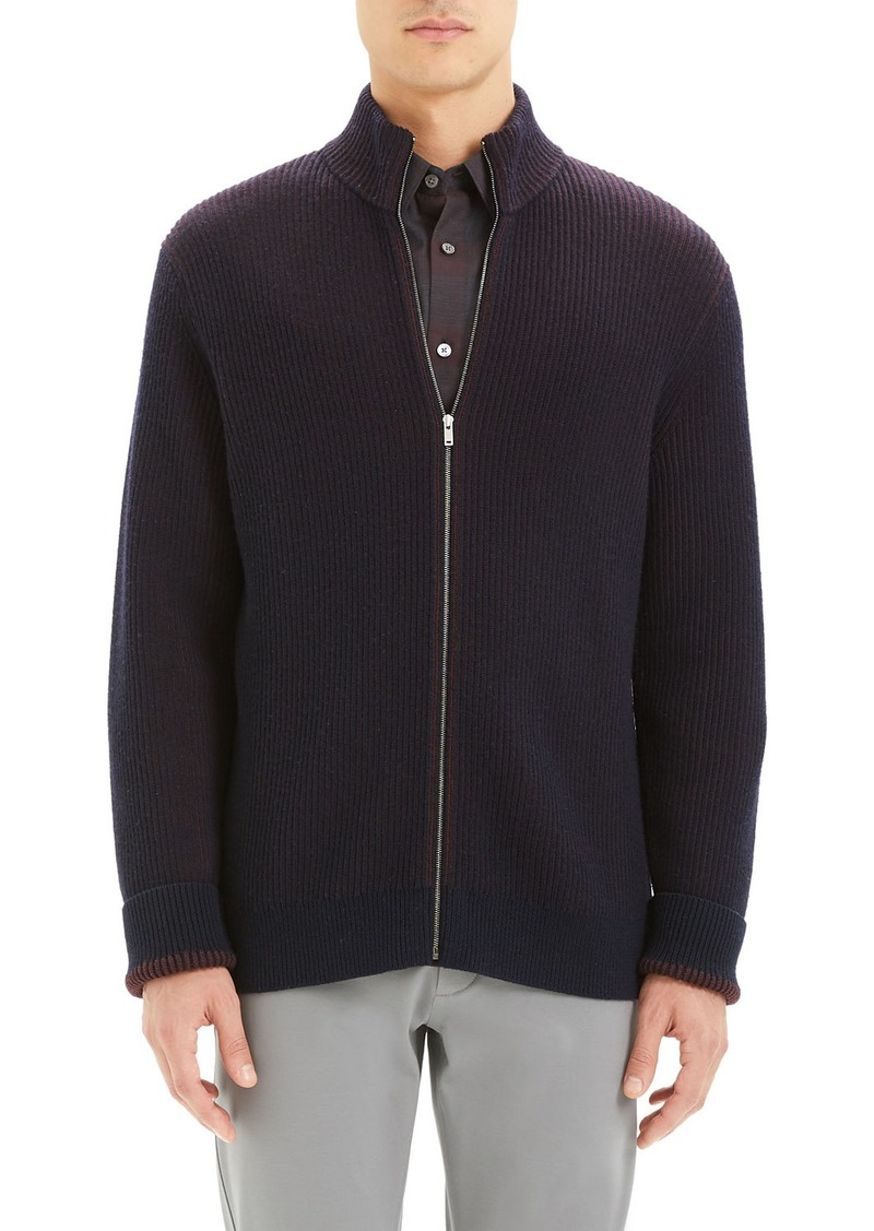 Theory Men's Rennes Rib-Knit Zip-Front Sweater