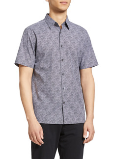 Men's Theory Irving Wave Short Sleeve Button-Up Shirt