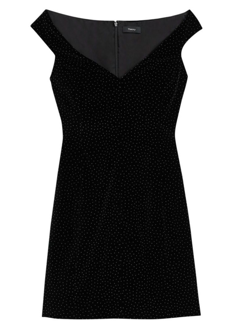 Theory Micro Dotted Off-The-Shoulder Mini Dress
