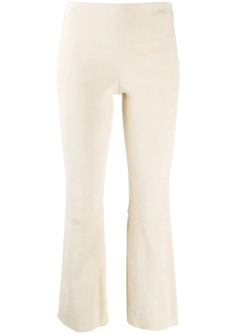 Theory mid-rise suede cropped trousers