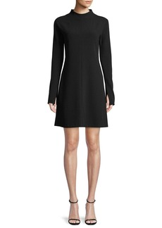 Theory Mock-Neck Long-Sleeve A-Line Admiral Crepe Mini Dress