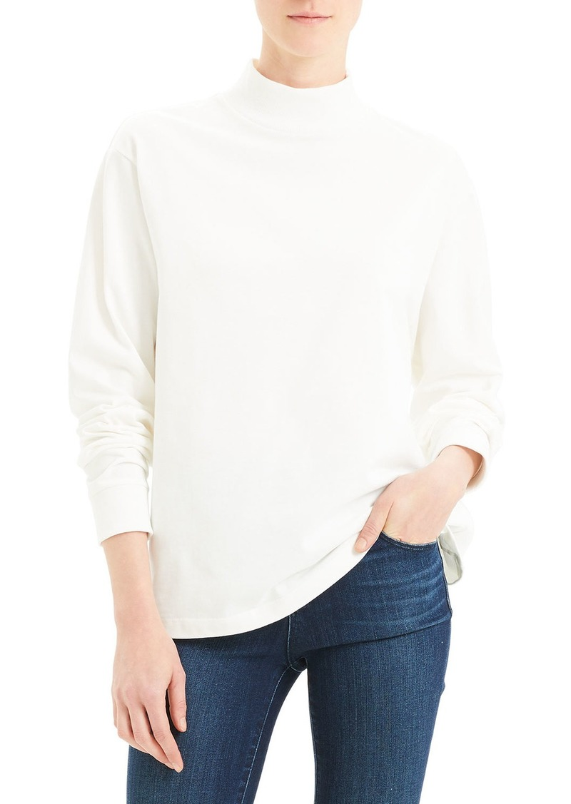 Theory Mock-Neck Long-Sleeve Heavy Jersey Cotton Top