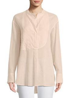Theory Modern Bib Long-Sleeve Button-Front Cotton Tunic