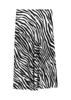 Theory Modern Zebra Midi Silk Slip Skirt