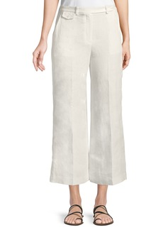 Theory Nadeema Linen Drape Cropped Pants